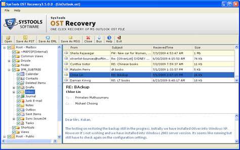 Screenshot of Convert Exchange OST Mailbox to PST 3.6